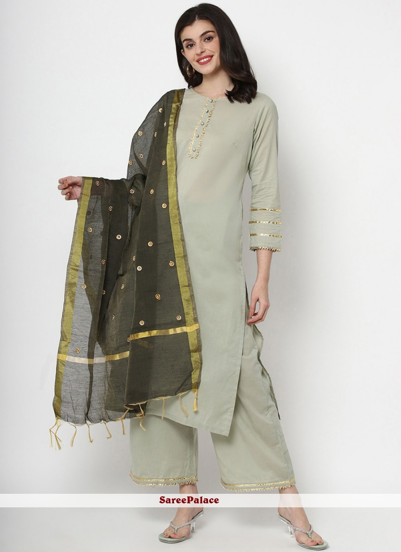 Plain Green Cotton Readymade Salwar Kameez