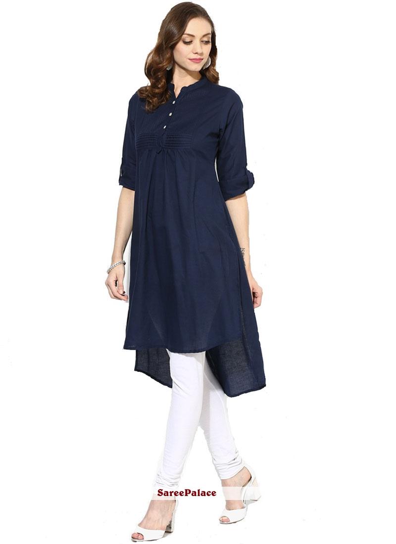 Plain Navy Blue Rayon Party Wear Kurti