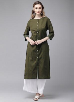 Green Plain Party Wear Kurti