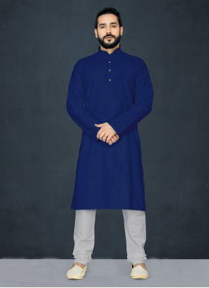 Plain Poly Cotton Kurta Pyjama in Navy Blue