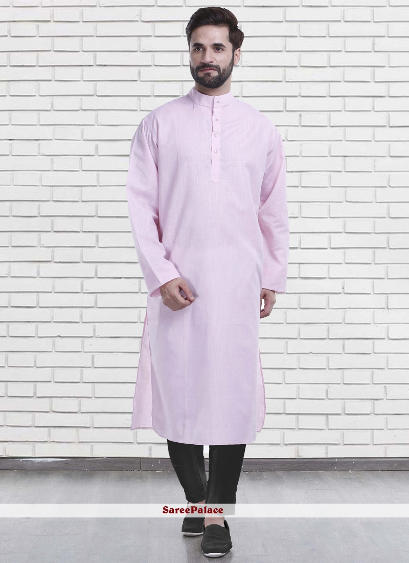 Plain Poly Cotton Kurta Pyjama in Pink