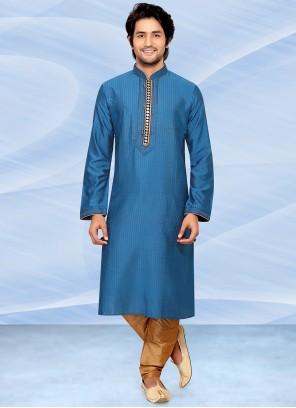 Plain Poly Silk Kurta Pyjama in Blue