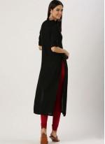 Plain Rayon Casual Kurti in Black