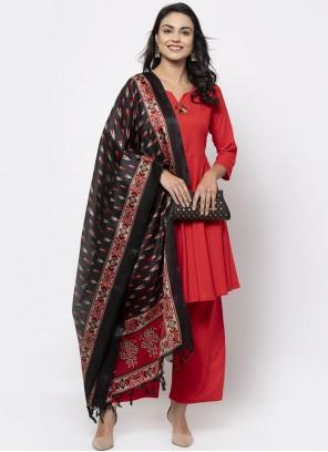 Plain Rayon Red Designer Suit