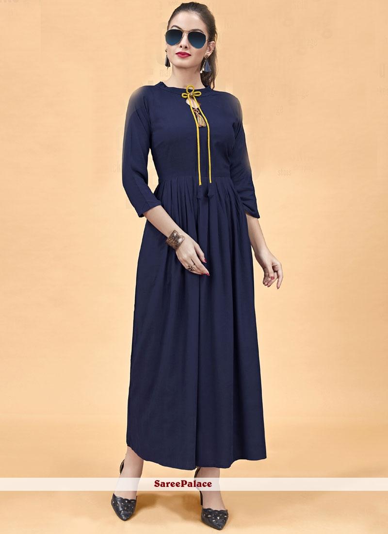 Navy Blue Plain Rayon Party Wear Kurti