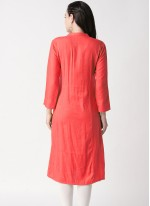 Plain Rayon Party Wear Kurti in Red