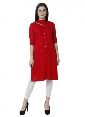 Plain Rayon Salwar Kameez in Red