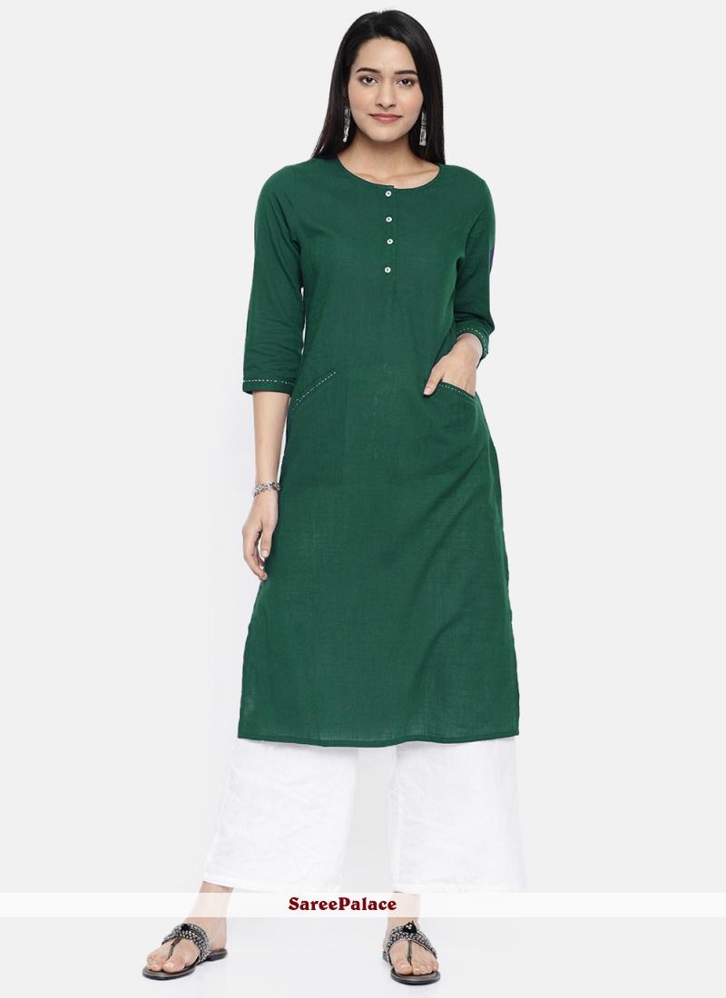 Plain Rayon Sea Green Party Wear Kurti