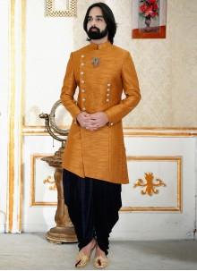 Plain Silk Indo Western in Mustard