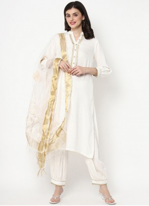 Plain Trendy White Salwar Kameez