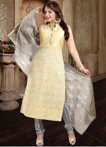 Plain Yellow Churidar Salwar Kameez