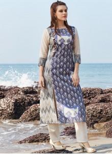 Pleasance Blue Print Work Chanderi Cotton Party Wear Kurti