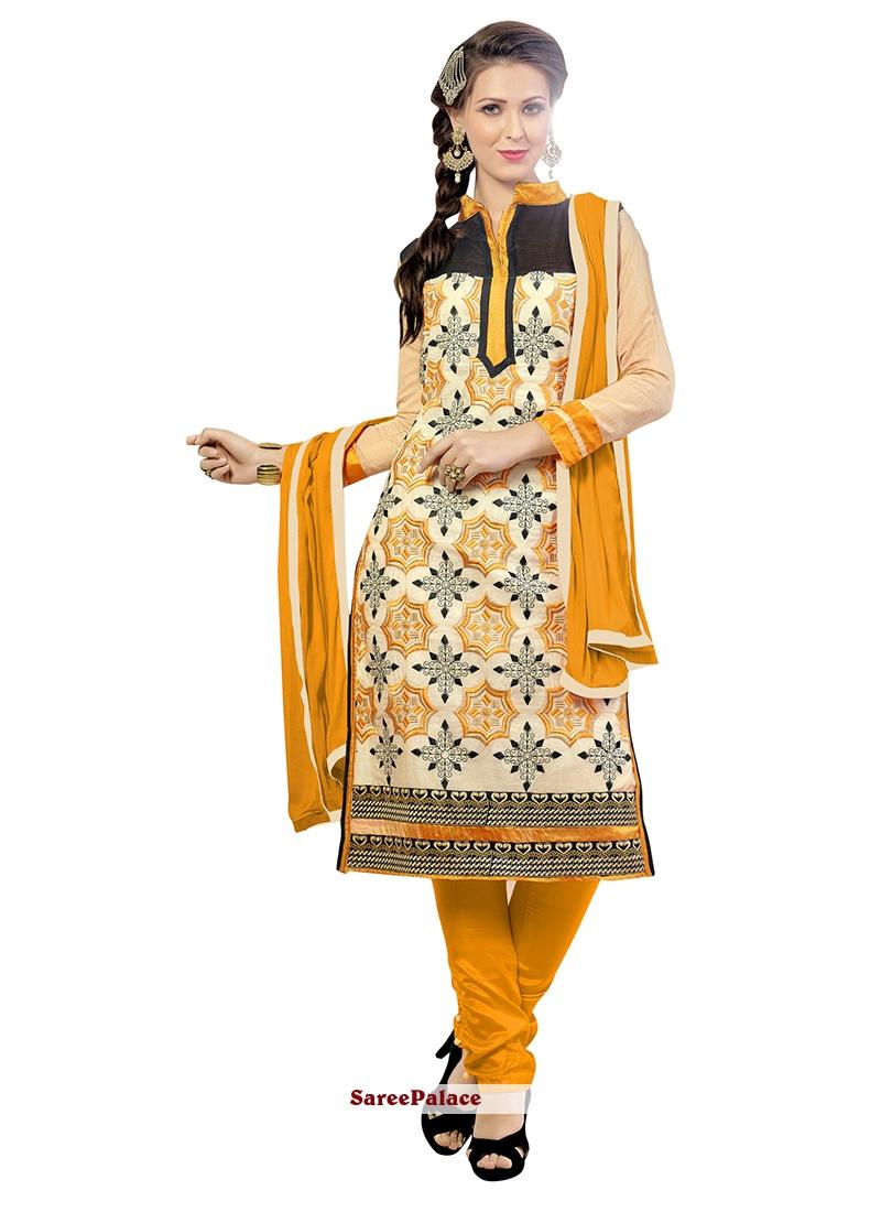 Pleasance Chanderi Embroidered Work Churidar Suit