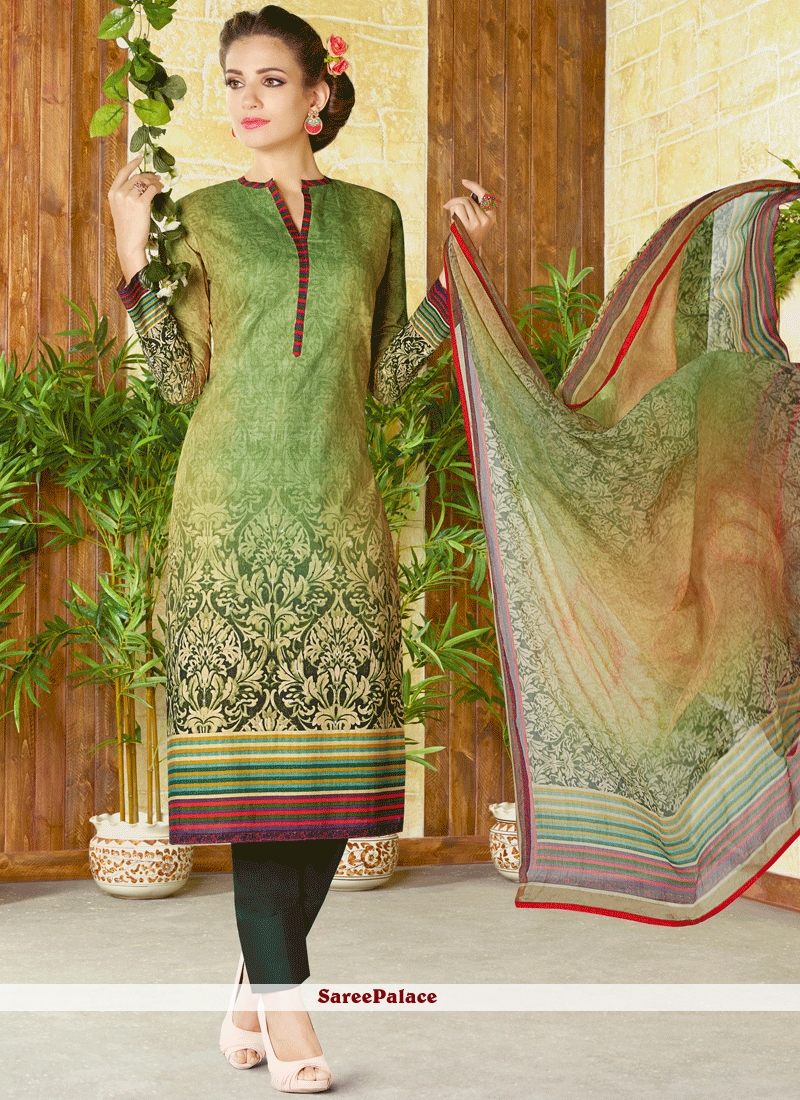 Pleasance Cotton   Multi Colour Churidar Designer Suit
