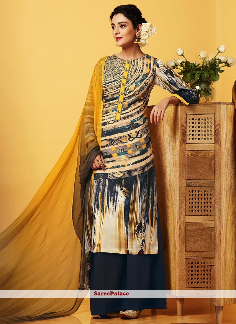 Pleasance Faux Chiffon Multi Colour Digital Print Work Designer Palazzo Salwar Suit