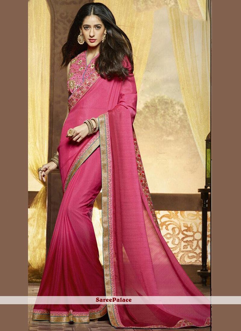 Pleasance Hot Pink Patch Border Work Chiffon Satin Shaded Saree