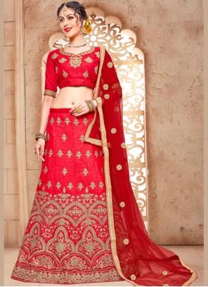 Pleasance Malbari Silk  Red Embroidered Work Lehenga Choli