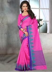 Pleasing Cotton   Pink Designer Saree