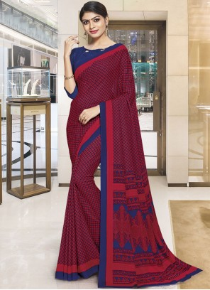 Red Polly Cotton Casual Saree