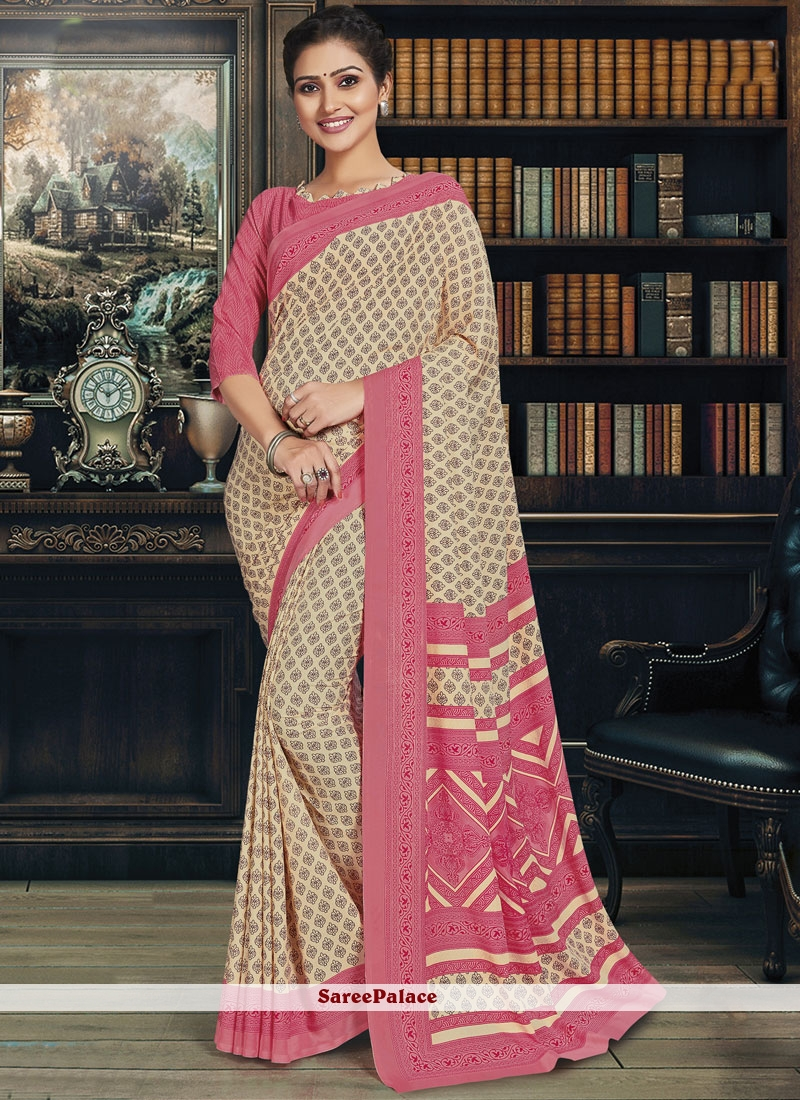 Polly Cotton Casual Saree in Beige