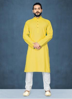 Polly Cotton Plain Yellow Kurta Pyjama