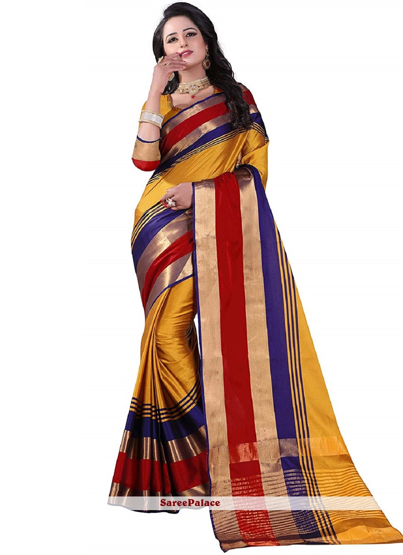 Multi Colour Poly Cotton Casual Saree