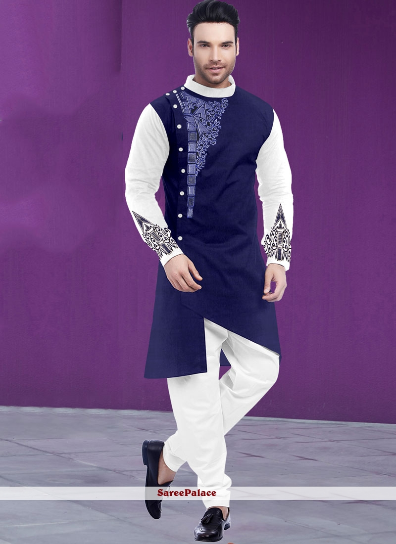 Poly Cotton Digital Print Kurta Pyjama in Blue and White