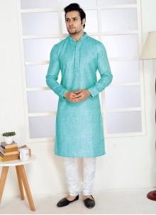 Poly Cotton Kurta Pyjama in Turquoise