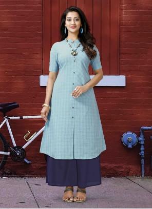 Poly Cotton Printed Aqua Blue Designer Kurti