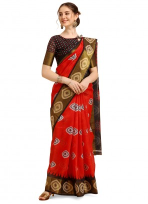 Poly Cotton Printed Red Casual Saree