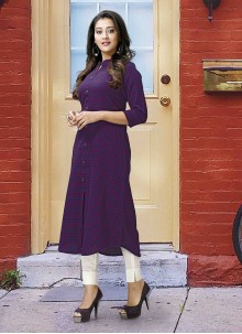 Poly Cotton Purple Printed Designer Kurti