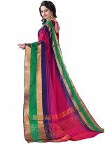 Poly Cotton Woven Casual Saree in Hot Pink
