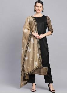 Poly Silk Black Fancy Readymade Suit