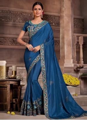 Poly Silk Blue Classic Designer Saree