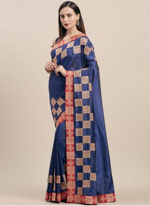 Poly Silk Blue Classic Saree