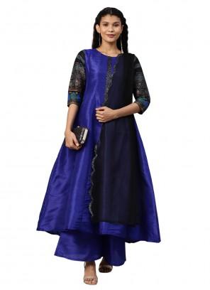 Poly Silk Blue Designer Salwar Suit