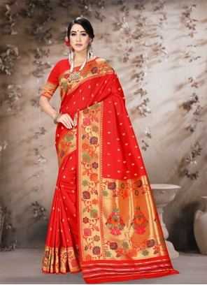 Poly Silk Classic Saree in Red