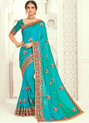 Poly Silk Designer Green Classic Designer Saree