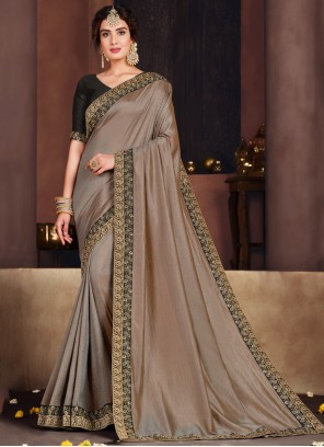 Poly Silk Embroidered Brown Designer Traditional Saree