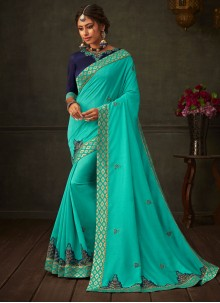Poly Silk Embroidered Classic Saree in Turquoise