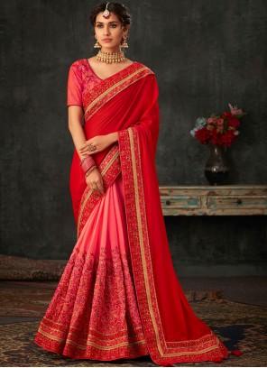 Poly Silk Embroidered Designer Half N Half Saree