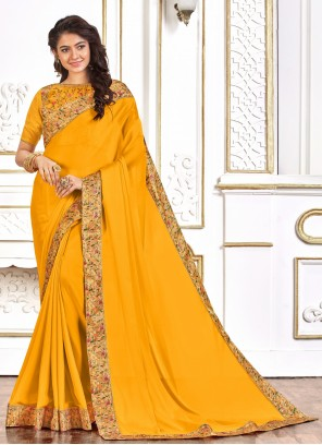 Poly Silk Embroidered Designer Yellow Traditional Saree