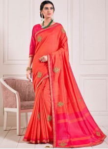 Poly Silk Embroidered Designer Traditional Saree in Red