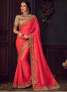Poly Silk Embroidered Pink and Red Traditional Saree