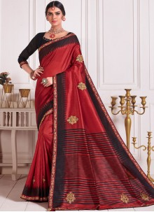 Poly Silk Embroidered Red Designer Saree