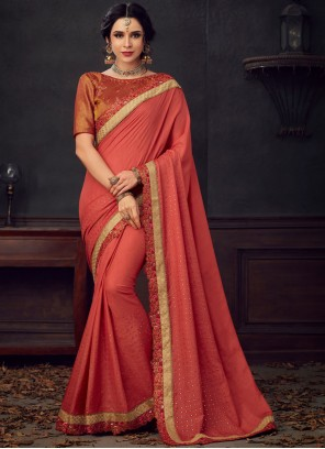 Poly Silk Embroidered Saree in Maroon