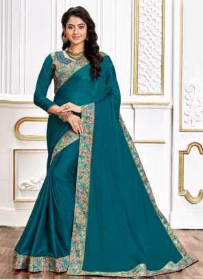 Poly Silk Embroidered Teal Designer Traditional Saree