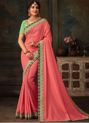 Poly Silk Embroidered Traditional Designer Saree in Pink