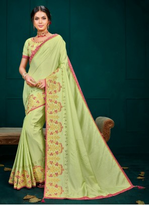 Poly Silk Embroidered Traditional Saree in Green