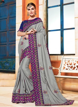 Poly Silk Festival Grey Traditional Designer Saree
